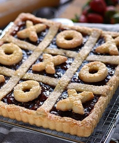 Strawberry Jalapeno Tic Tac Toe Tart: This sweet 'n spicy Strawberry Jalapeno Tart is more than a pastry, it's also a Tic Tac Toe game board!