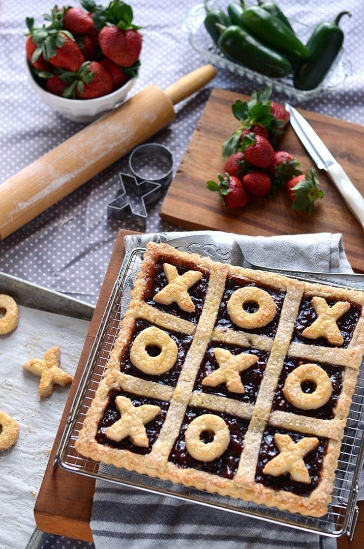 XOXO Tart Web - Strawberry Jalapeno Tic Tac Toe Tart