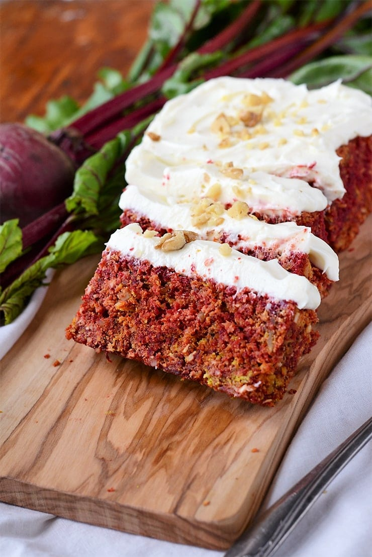 Beet Cake Slices NEW Web - Rustic Beet Cake with Cream Cheese Icing