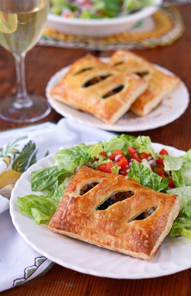 Cheesy Sausage Kale Pockets Web - Sausage and Kale Puff Pastry Pockets with Parmesan and Mozzarella