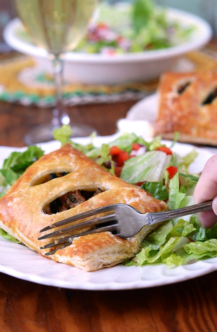 Flaky Puff Pastry Pocket Web - Sausage and Kale Puff Pastry Pockets with Parmesan and Mozzarella