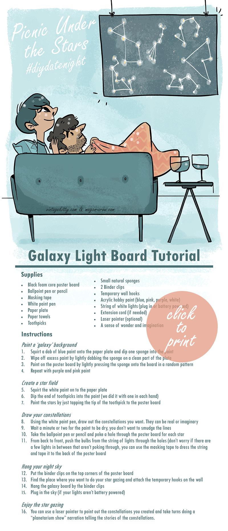 Galaxy Light Board Craft Tutorial - Picnic Under the Stars #diydatenight