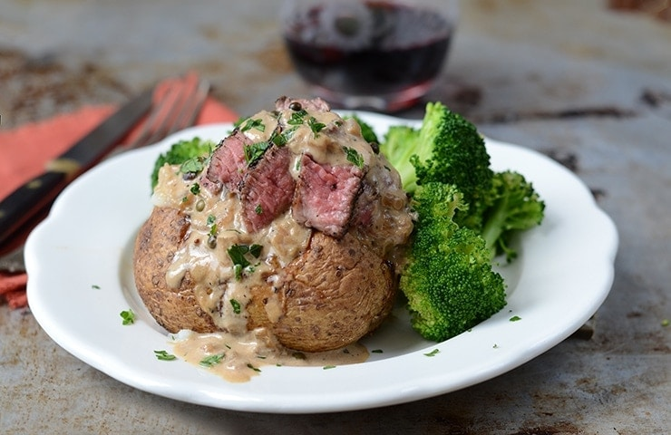 In our Steak au Poivre Baked Potatoes recipe, potatoes make an excellent base for pan seared pepper steak in a rich pepper cream sauce.