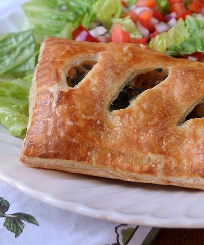 PUff Pastry Pocket Horizontal Web 400x480 - Sausage and Kale Puff Pastry Pockets with Parmesan and Mozzarella