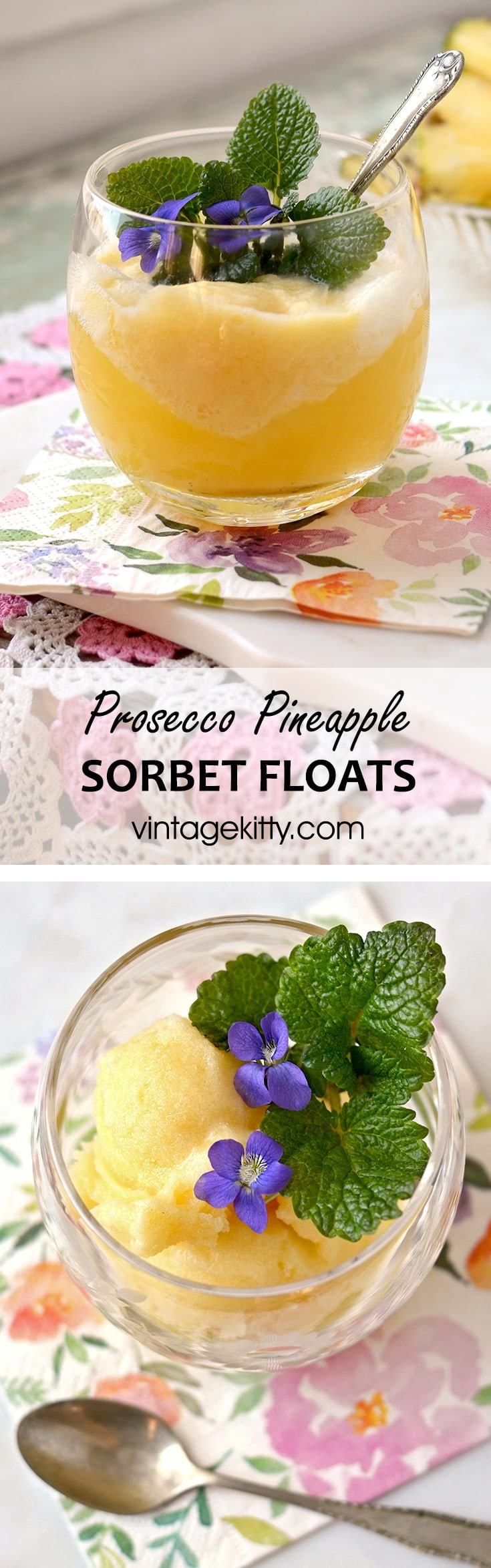 Prosecco pineapple sorbet floats vintage kitty for Prosecco dessert recipes