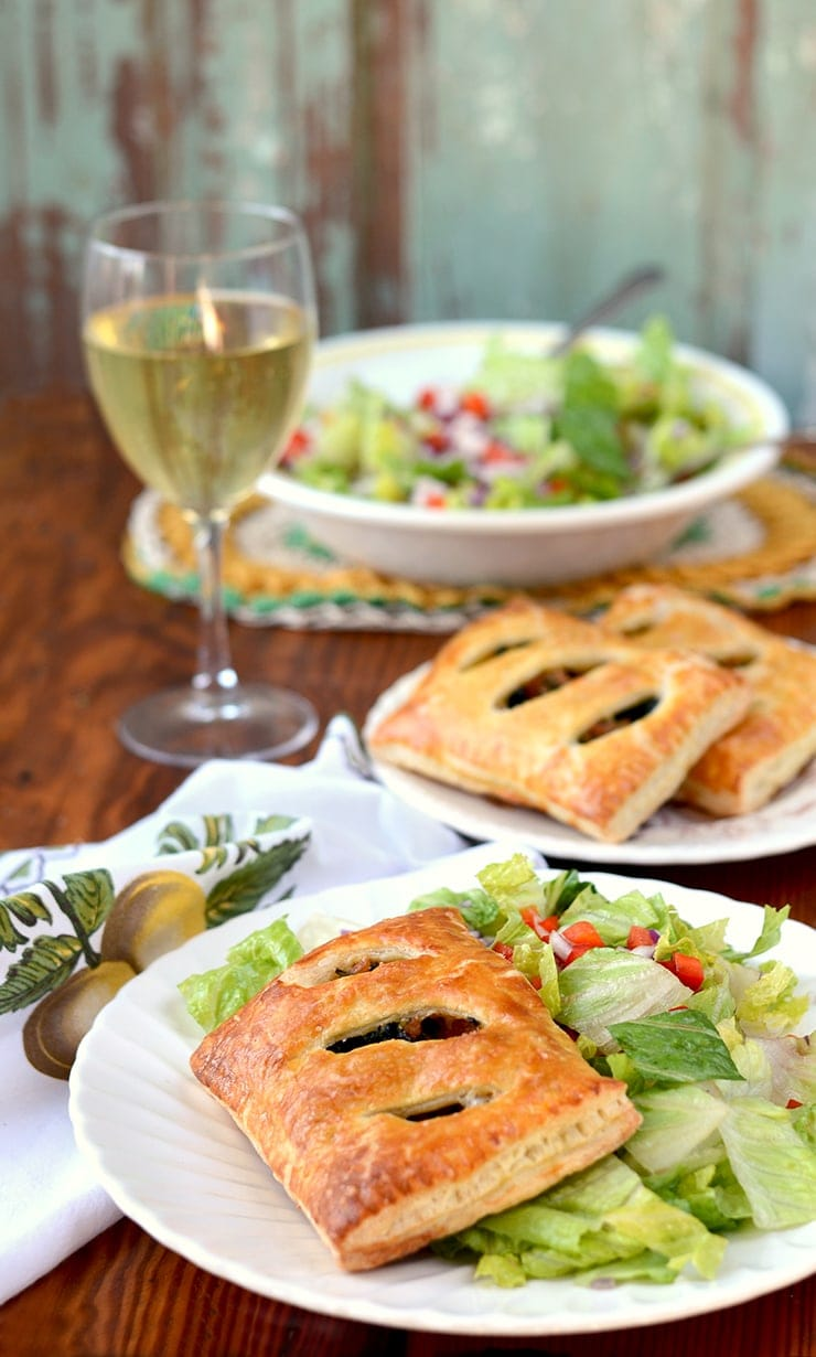 Puff Pastry Pockets with Sausage Kale and Cheese Web - Sausage and Kale Puff Pastry Pockets with Parmesan and Mozzarella