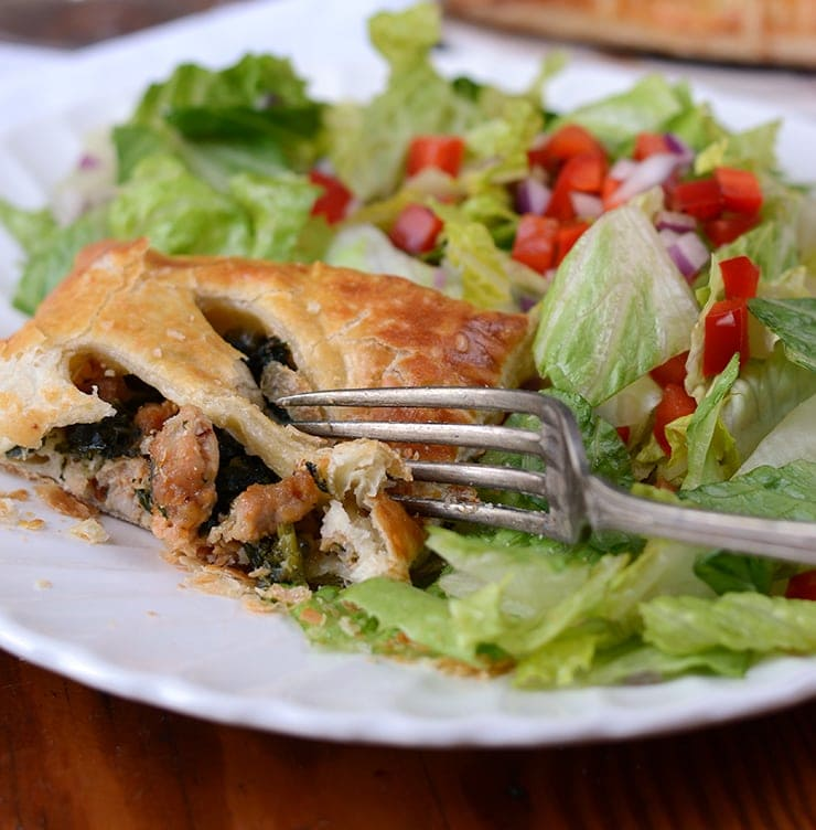 Sausage and Kale Pocket Web - Sausage and Kale Puff Pastry Pockets with Parmesan and Mozzarella