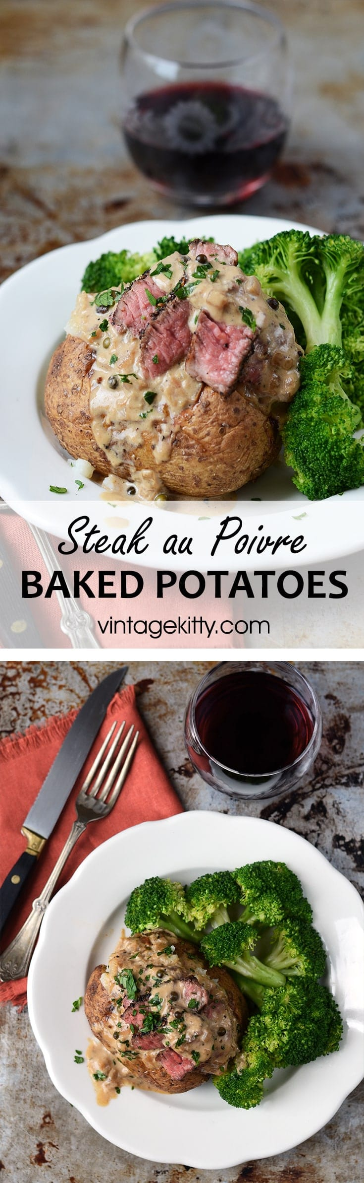 Steak au Poivre Baked Potatoes are a surprisingly easy meal that makes weekdays feel special. | vintagekitty.com