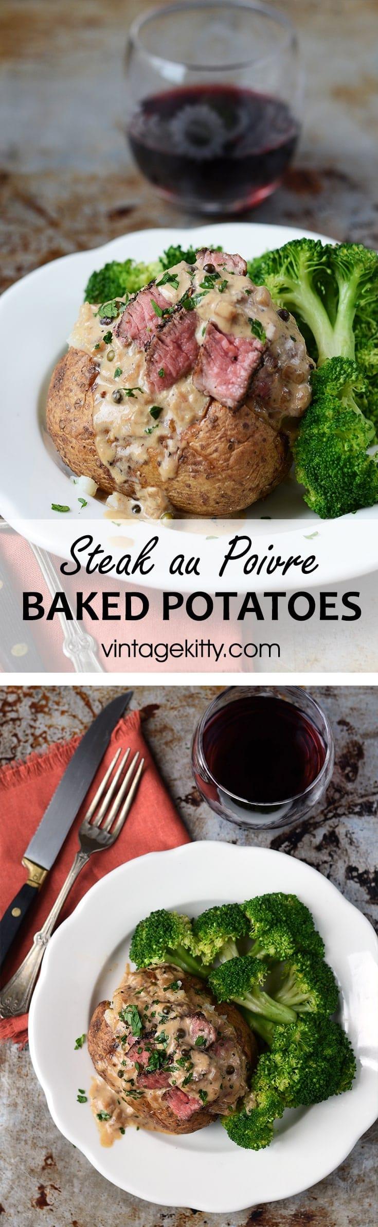 Steak au Poivre Baked Potatoes Pin - Easy Steak au Poivre Baked Potatoes