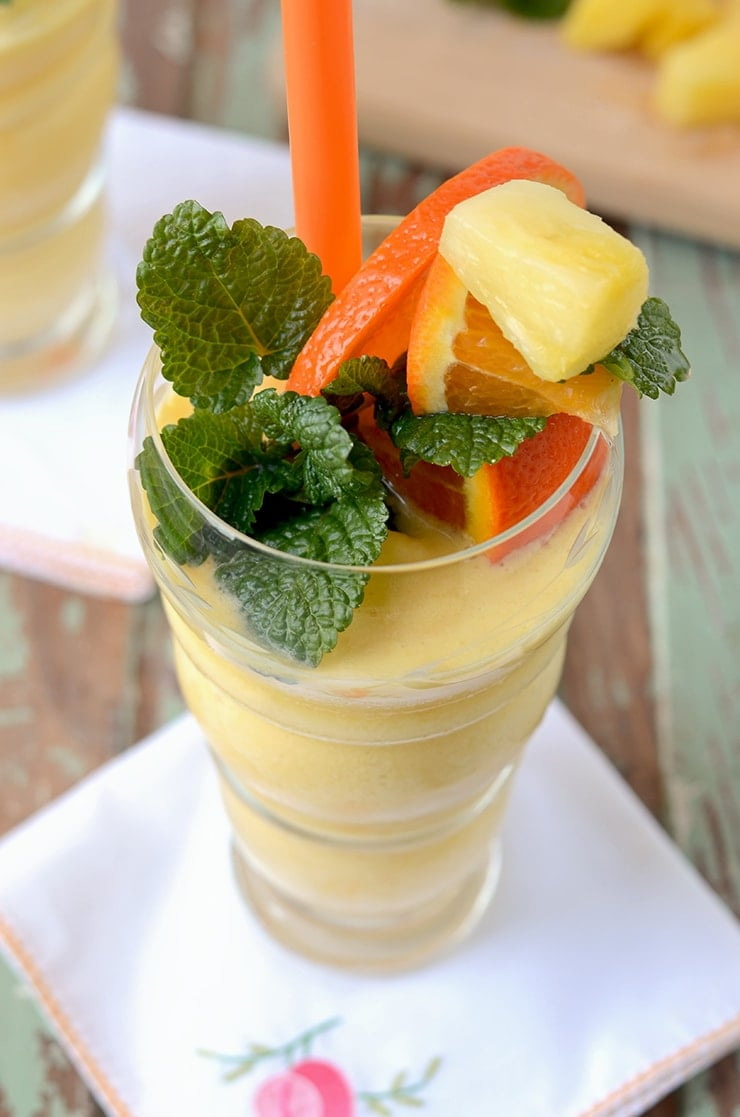 Closeup of Garnish in Smoothie Web - Pineapple Orange Creamsicle Smoothie
