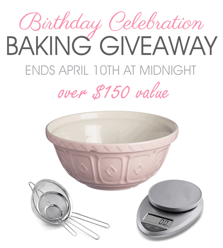 It's our 2nd birthday so we are thanking you with a BAKING CELEBRATION GIVEAWAY! Great baking starts with having great tools and here are some of my favorites! These beautiful items are loaded with vintage style and valued at over $150!