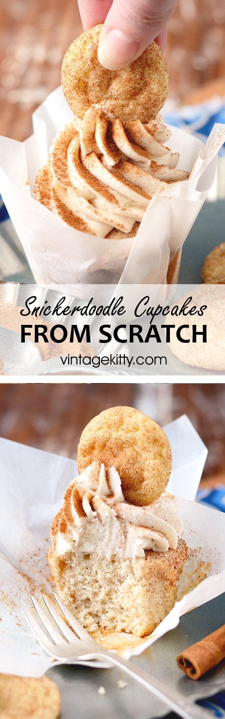 Cinnamon wins the day with these beautiful cookie topped Snickerdoodle Cupcakes! Just in time to wish vintagekitty.com a happy birthday!