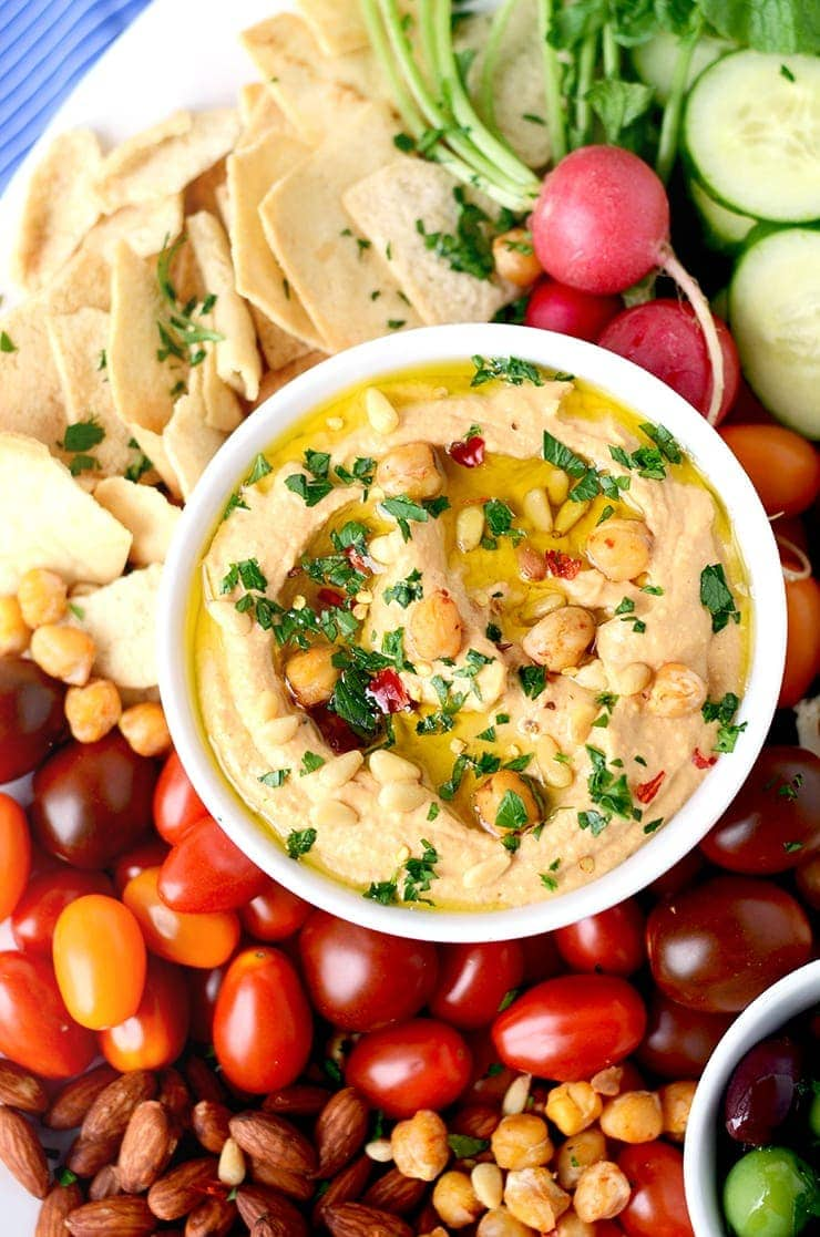 Closeup of Harissa Hummus Web - Zesty Harissa Hummus Recipe + Platter Ideas