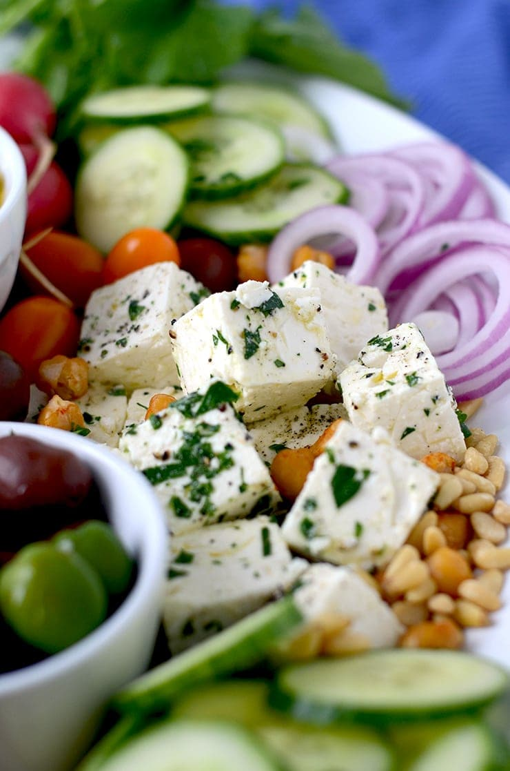 Feta on Harissa Hummus Platter Web - Zesty Harissa Hummus Recipe + Platter Ideas