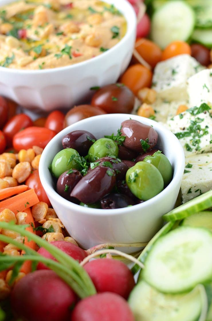 Olives on Harissa Hummus Platter Web - Zesty Harissa Hummus Recipe + Platter Ideas