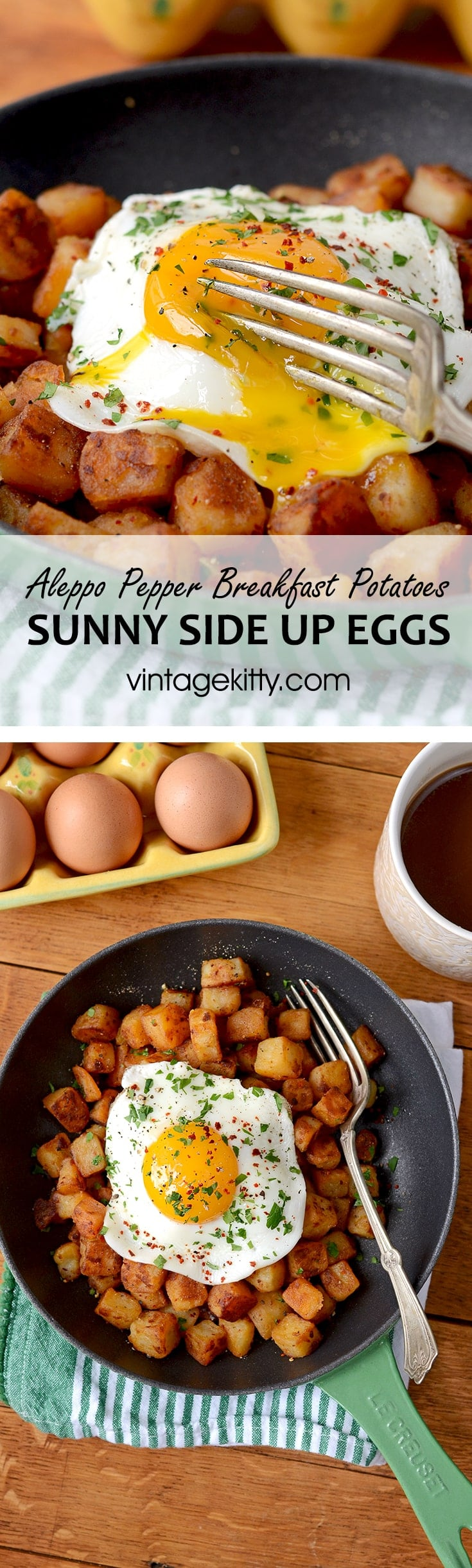 Aleppo Pepper Breakfast Potatoes Pin 2 - Crispy Aleppo Pepper Breakfast Potatoes with Sunny Side Up Eggs
