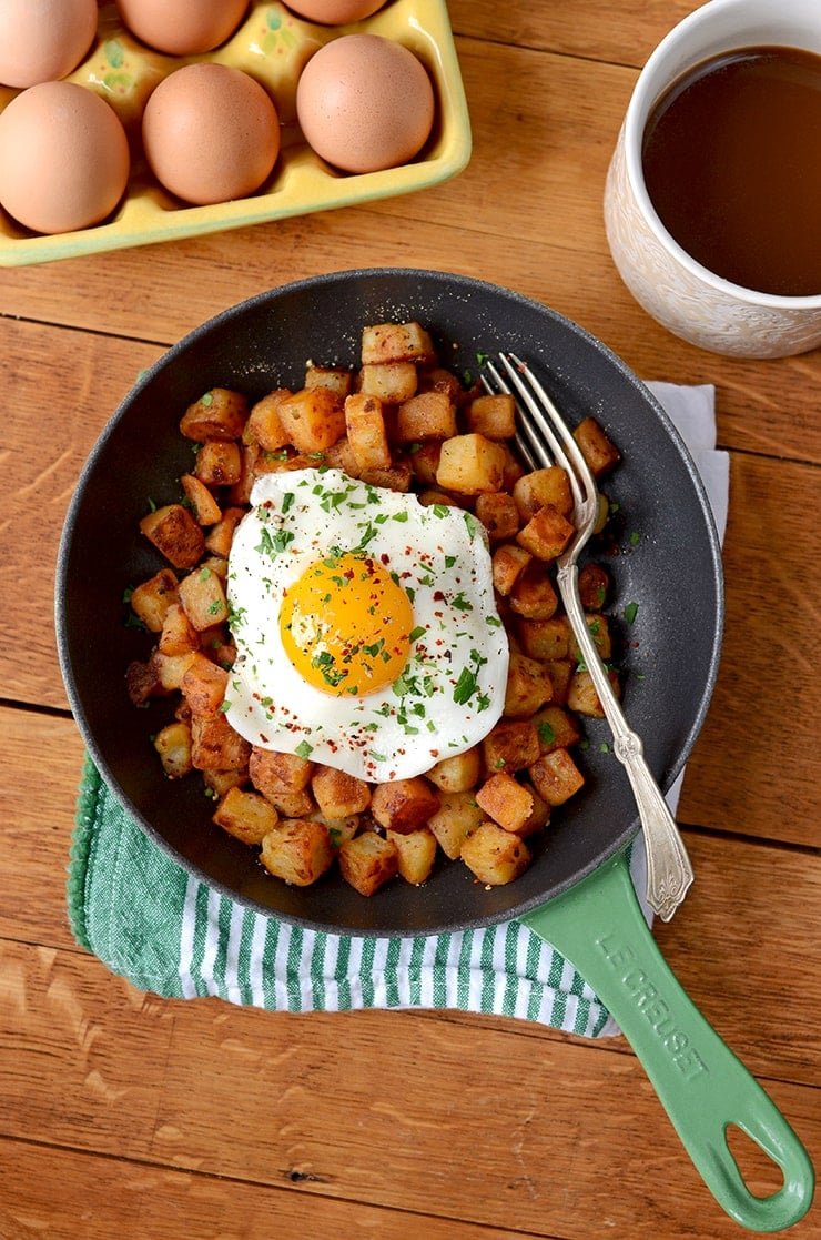 DSC 4246 Web - Crispy Aleppo Pepper Breakfast Potatoes with Sunny Side Up Eggs