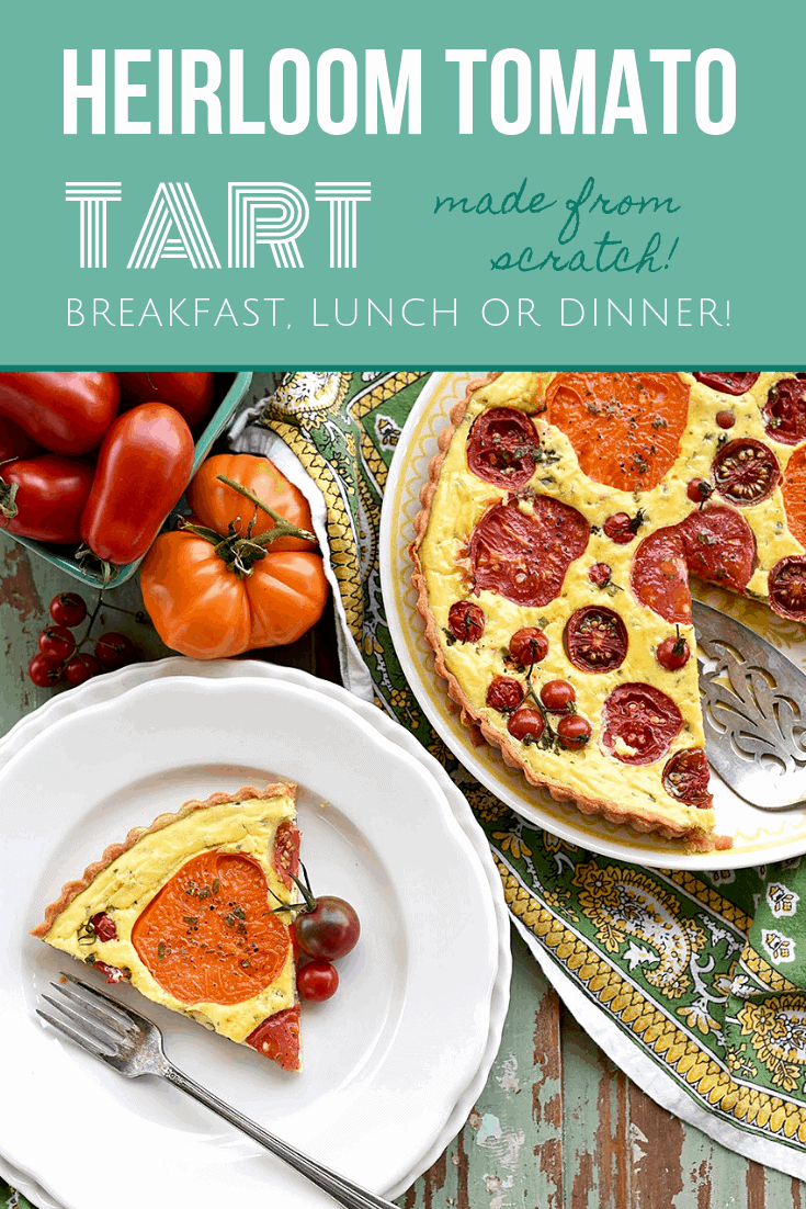 This Heirloom Tomato Tart is what summer tastes like! It's filled with savory flavors of cream cheese, chives and a flaky pastry that compliment flavorful heirloom tomatoes of any size or color. #simple #easy #tomatoes #summer #tomatotart #breakfast #brunch #lunch