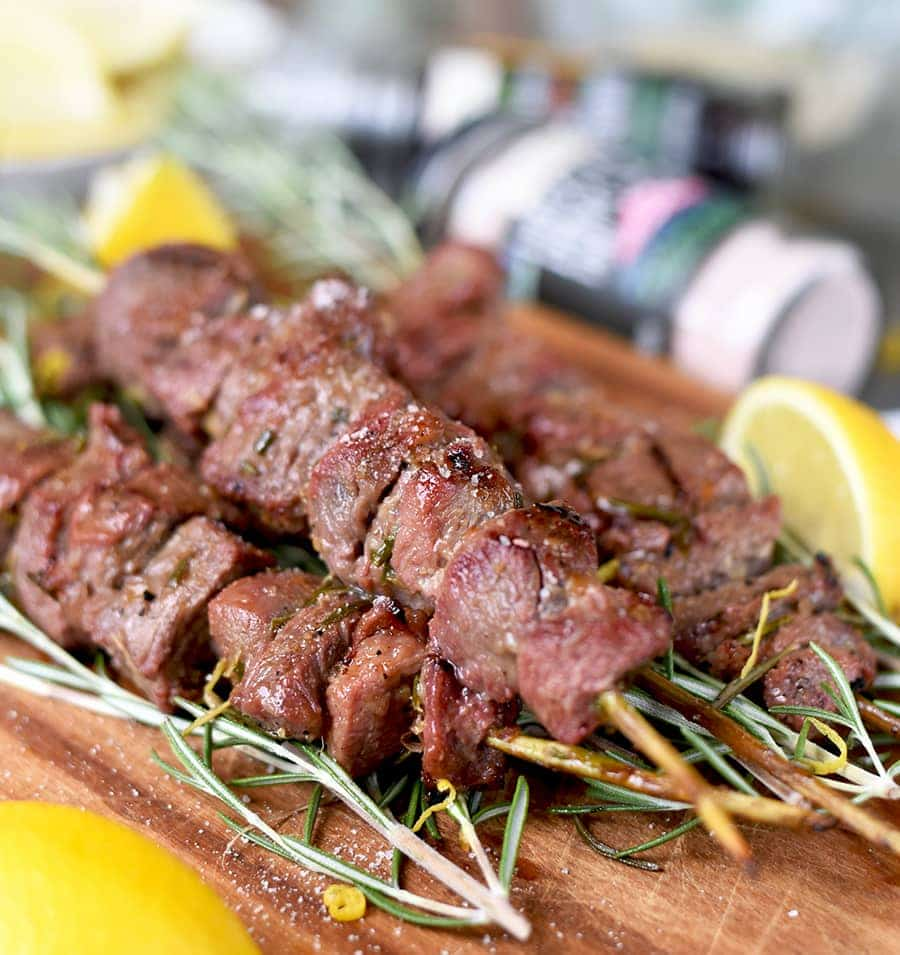Lamb Rosemary Skewers with Pink Himilayan Salt 0708 Web - Grilled Rosemary Lamb Skewers with Himalayan Pink Salt