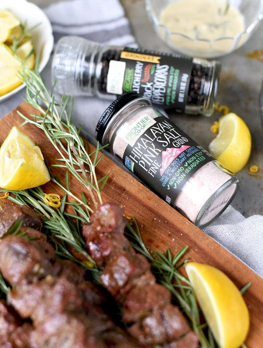 Lamb Rosemary Skewers with Pink Himilayan Salt 0743 Web - Grilled Rosemary Lamb Skewers with Himalayan Pink Salt
