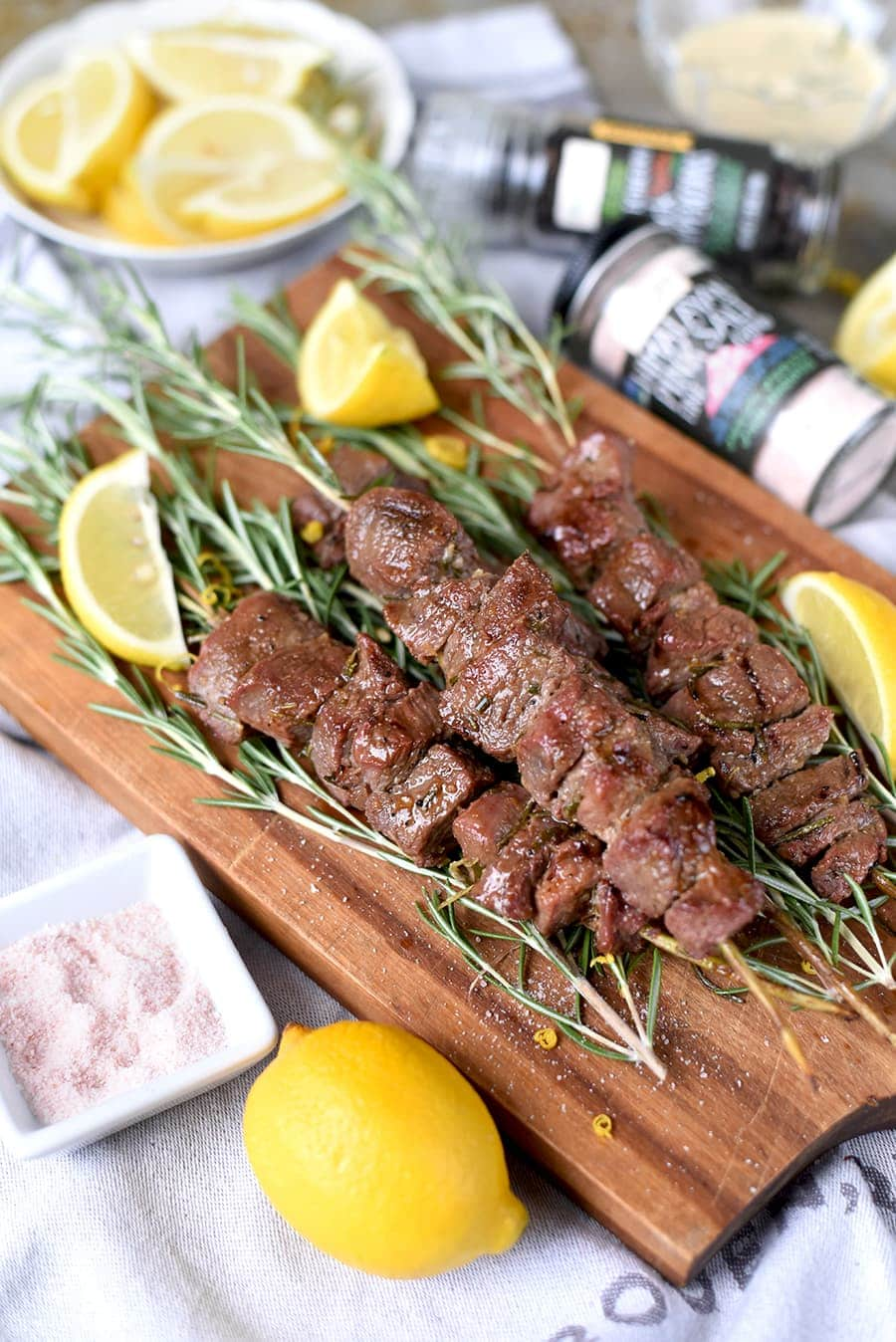 Lamb Rosemary Skewers with Pink Himilayan Salt 0748 Web - Grilled Rosemary Lamb Skewers with Himalayan Pink Salt