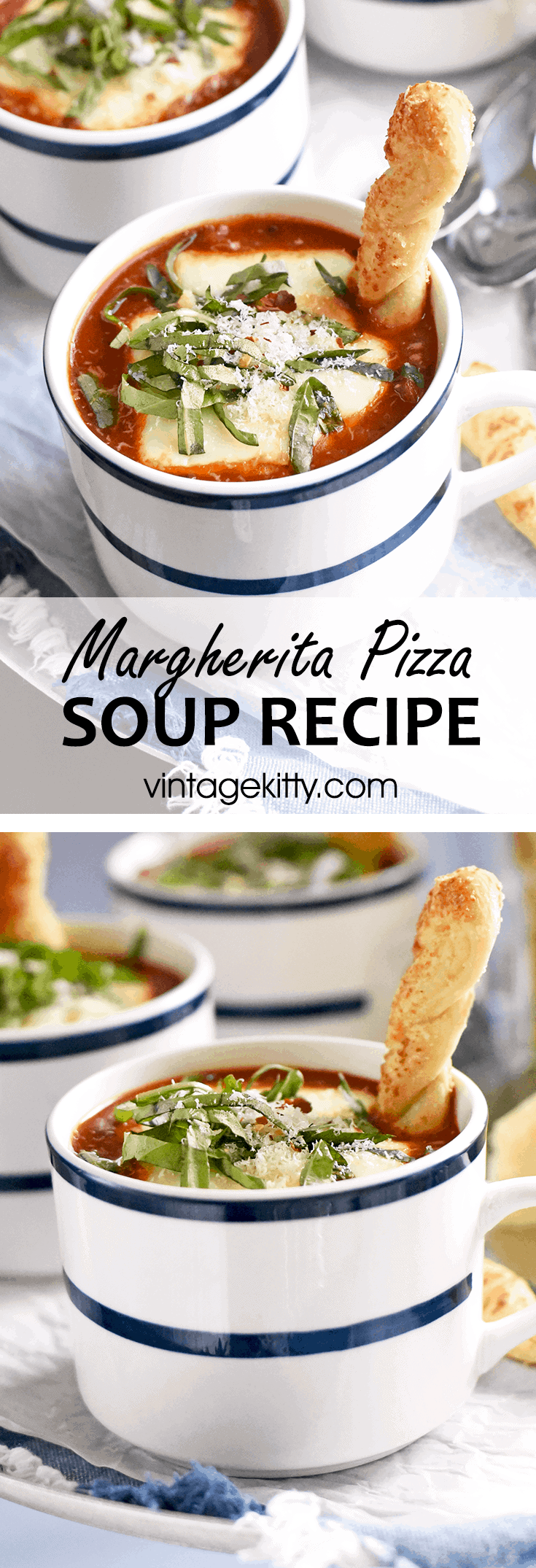 This fun soup has the flavors of margherita pizza, right down to the fresh basil and melty mozzarella cheese, but it's deconstructed for a creative twist. Perfect for a casual family dinner.