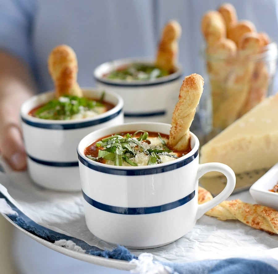 Margherita Soup 0793 Web 1 - Margherita Pizza Soup with Pizza Crust Breadsticks