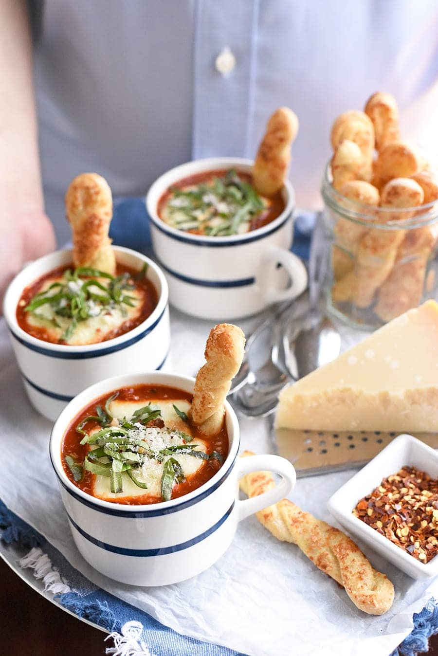 Margherita Soup 0822 Web - Margherita Pizza Soup with Pizza Crust Breadsticks