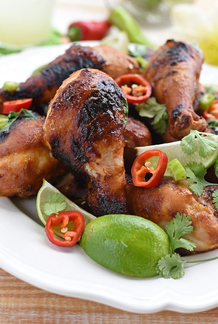 closeup of a grilled chicken drumstick