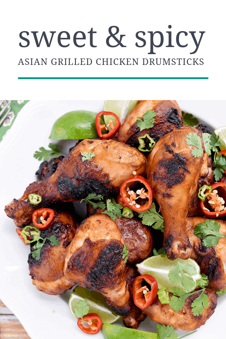 Everything tastes better grilled, right? Our sweet & spicy grilled chicken drumsticks recipe is full of bright Asian flavors! We start with a citrus soy marinade then grill it to sear in the juicy flavor! #chicken #drumsticks #grilled #chickenrecipes #asianmarinade