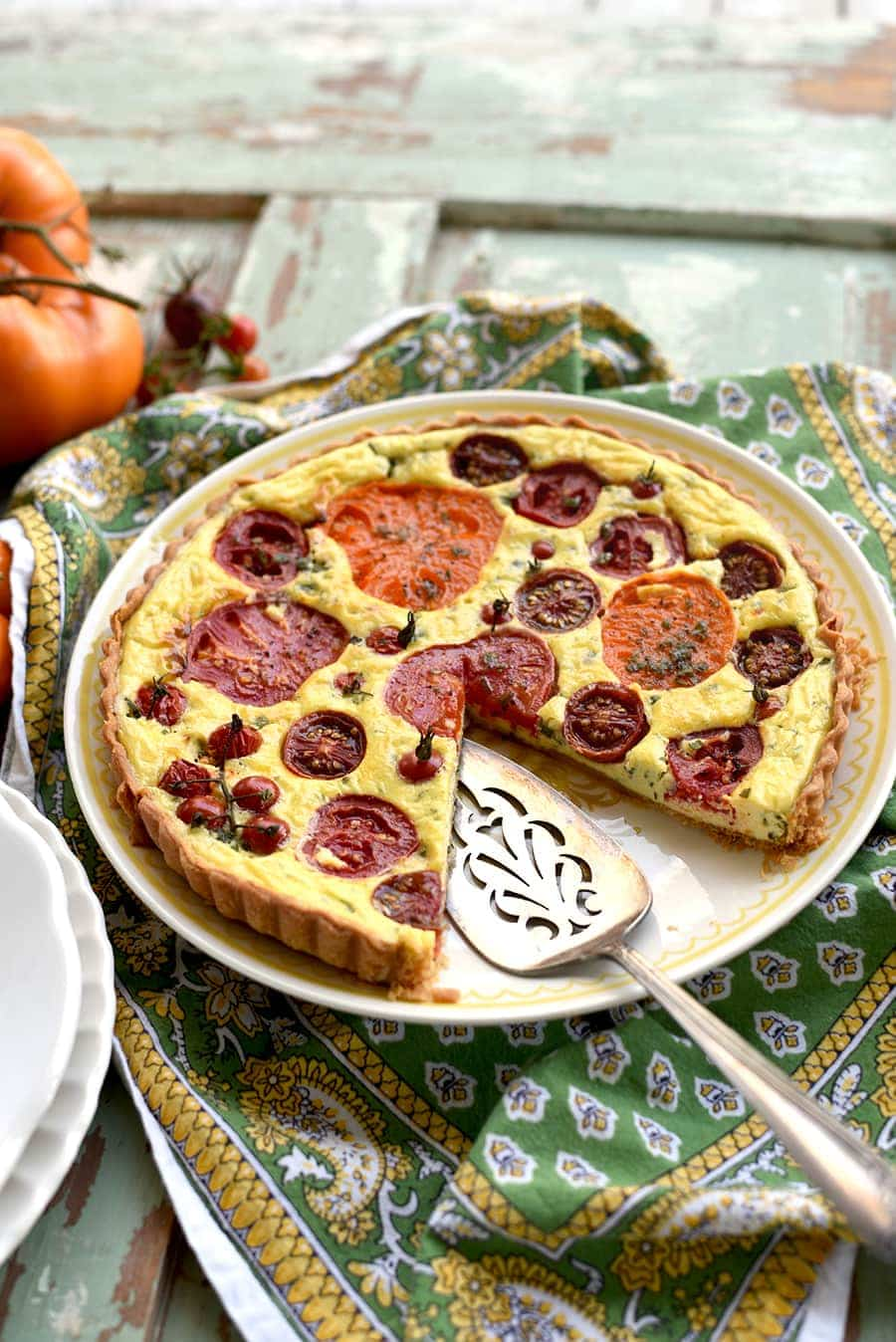 tomato tart missing a slice