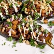 Stuffed Eggplant with Lemon Tahini Dressing