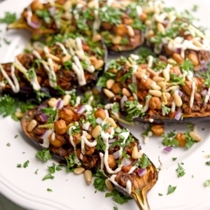 Stuffed Eggplant 4000 Web 300x300 - Stuffed Eggplant with Lemon Tahini Dressing