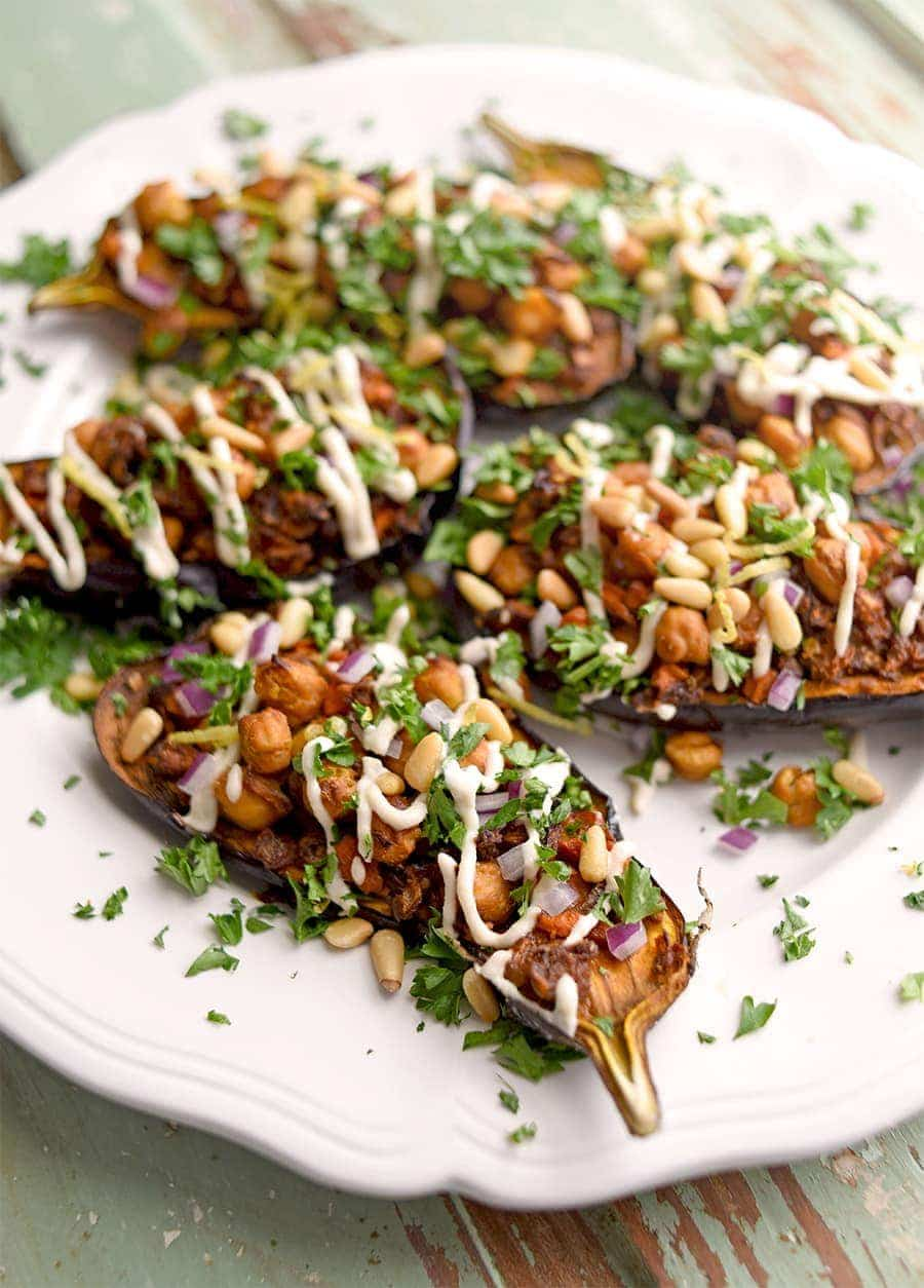 Stuffed Eggplant 4000 Web - Stuffed Eggplant with Lemon Tahini Dressing