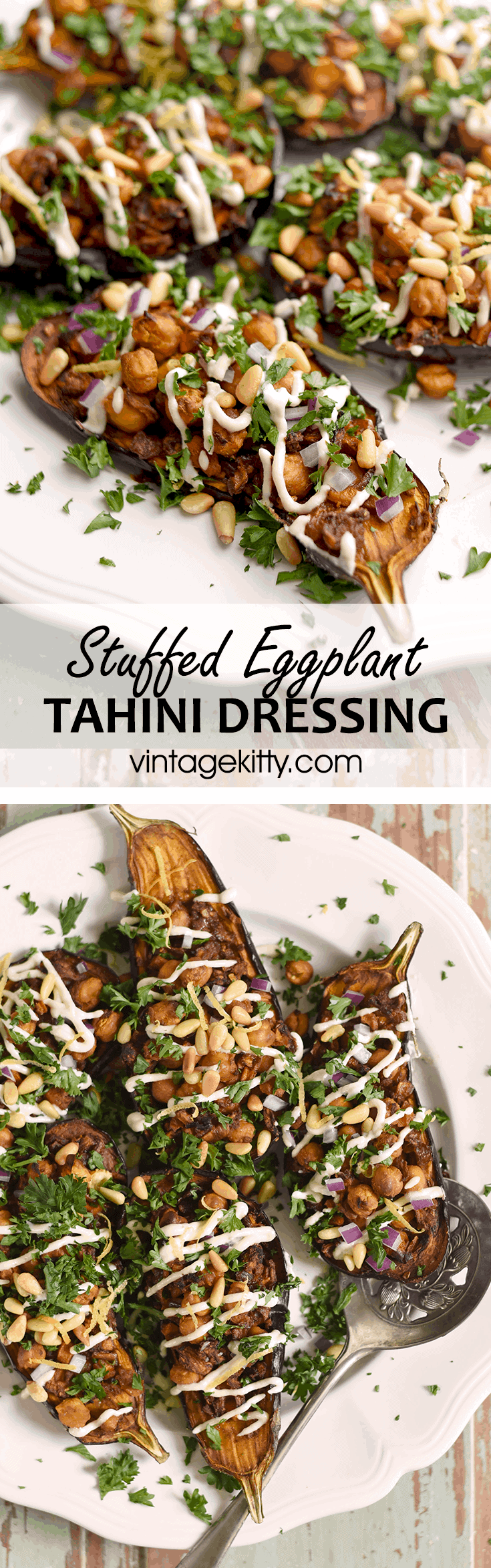 Stuffed Eggplant Pin - Stuffed Eggplant with Lemon Tahini Dressing