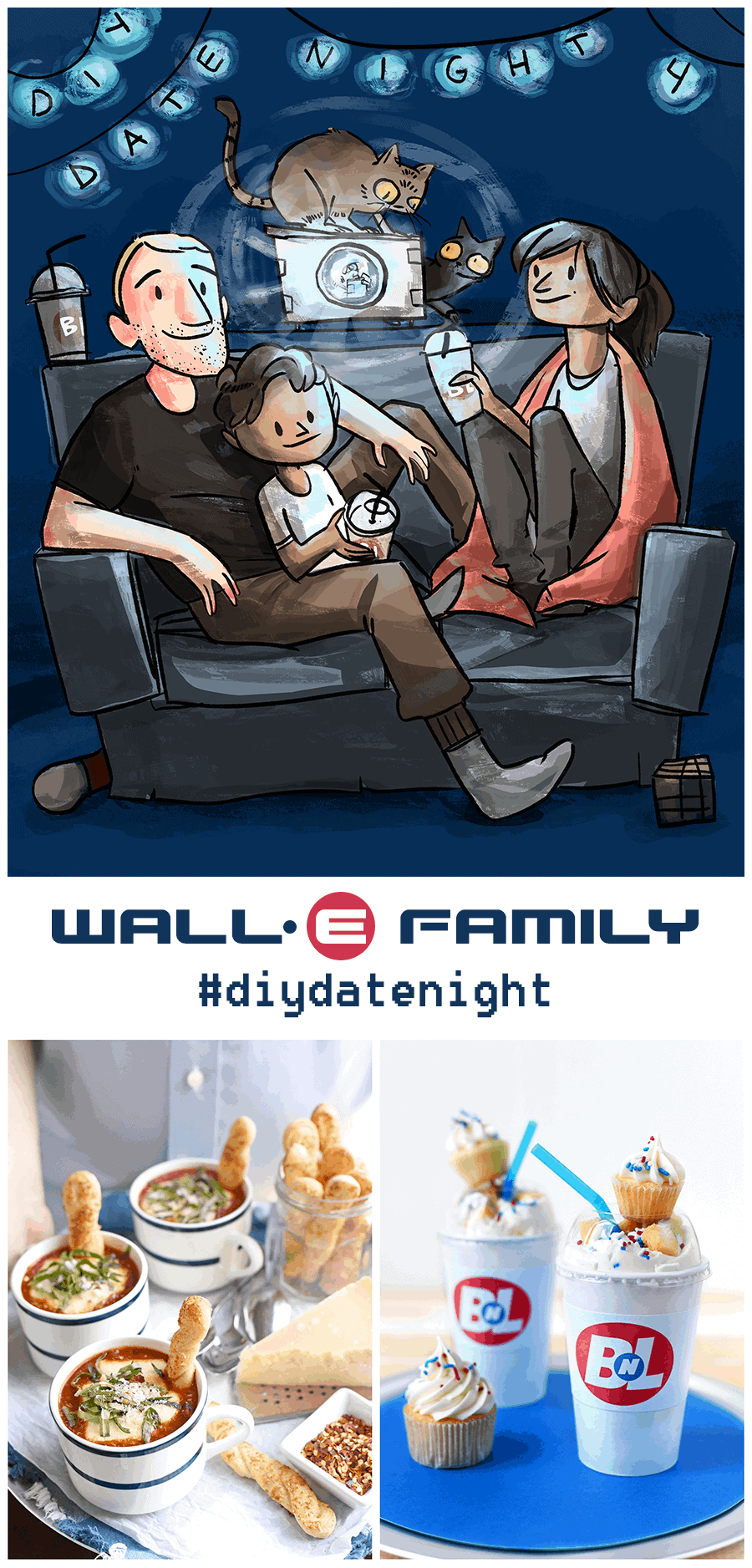 Enjoy a fun family movie night with our Wall-e Family #diydatenight! Watch the movie, eat food in a cup and go on a Wall-e themed scavenger hunt!