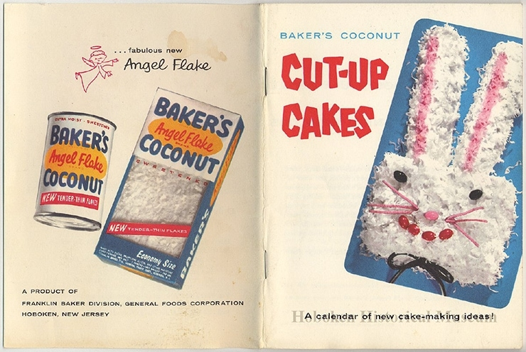 Bakers Coconut Cut Up Cakes 1956 - Owl Cut Up Cake