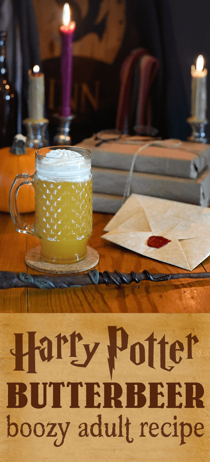 Take an adult trip to Hogsmeade! This boozy take on #butterbeer recipe will give you the feeling of being in the world of Harry Potter, but with an adult twist. #butterbeer #cocktail #boozy #harrypotter #cocktailrecipes