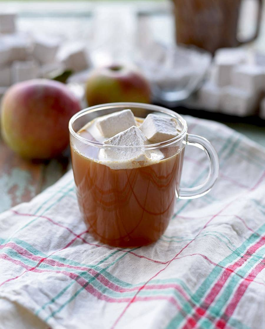 Mug of #hotcider topped with Caramel Apple Marshmallows