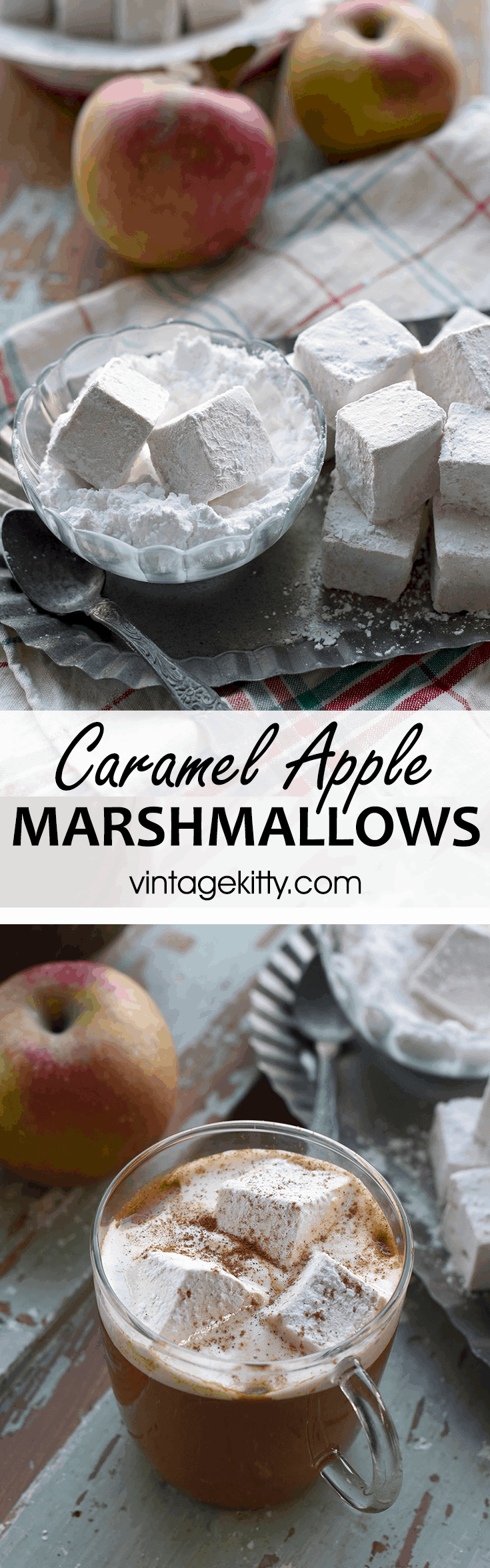 Delicious roasted over an open fire or in #hotcider, these Caramel Apple Marshmallows are an #easydessert to make for fall gatherings, or holiday gift giving.