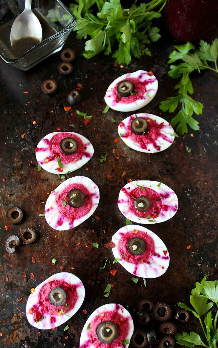 Deviled Bloody Eyeballs Halloween - Ghoulishly Good! </br>Halloween Party Recipes and Ideas