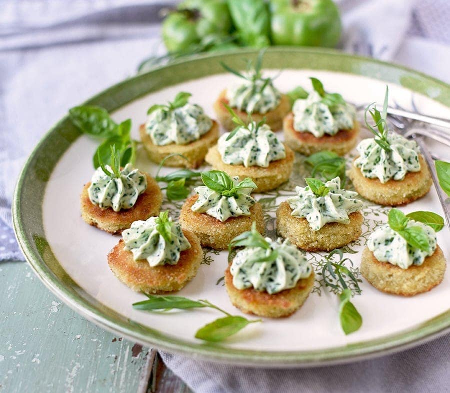 Fried Green Tomatoes 5212 Web - Fried Green Tomatoes </br>with Whipped Herb Chevre