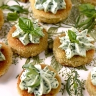 Fried Green Tomatoes with Whipped Herb Chevre