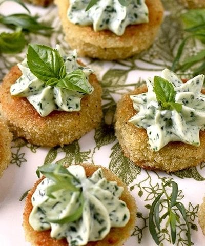 Fried Green Tomatoes 5234 Slider 400x480 - Fried Green Tomatoes </br>with Whipped Herb Chevre