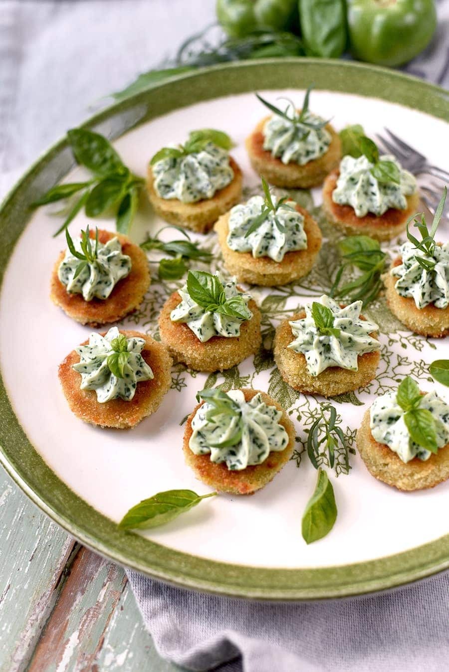 Fried Green Tomatoes 5234 Web - Fried Green Tomatoes </br>with Whipped Herb Chevre