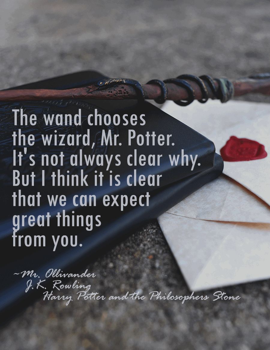 "A handmade Harry Potter inspired wand resting on a Hogwarts journal. There is a quote from Harry Potter ""The wand chooses the wizard, Mr. Potter. It's not always clear why. But I think that it is clear that we can expect great things from you."""