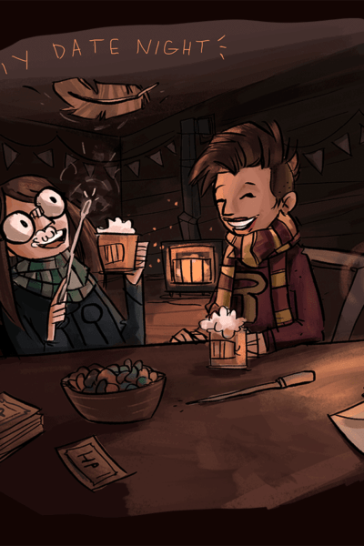 cartoon version of woman with glasses and man with scarf drinking butterbeer at a bar