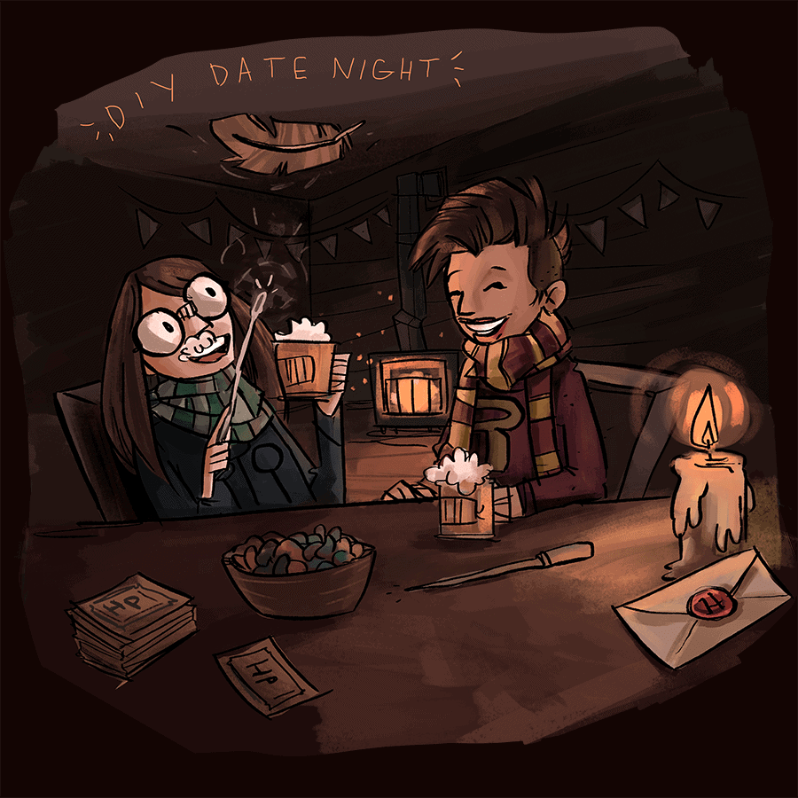 Megan Crow Illustration for Harry Potter diydatenight Web - Alcoholic Butterbeer Recipe