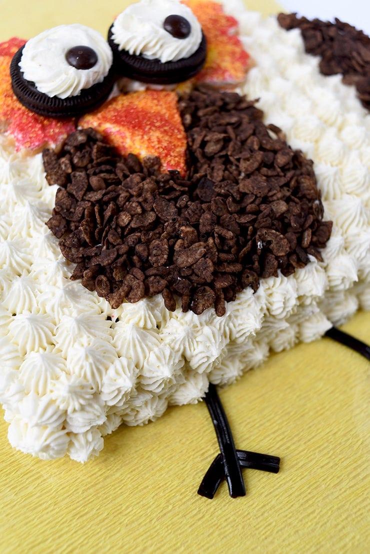Closeup of owl cake