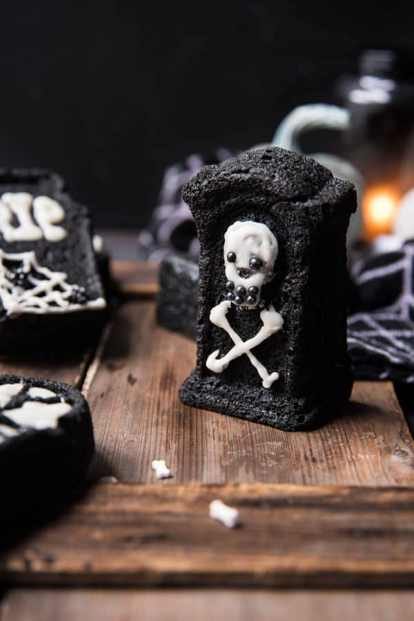Pumpkin Tombstone Cakes 13 600x900 - Ghoulishly Good! Halloween Party Recipes and Ideas